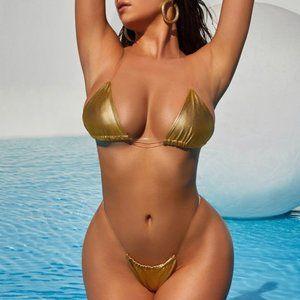 NWT Small Gold Metallic Clear Strap Bikini
